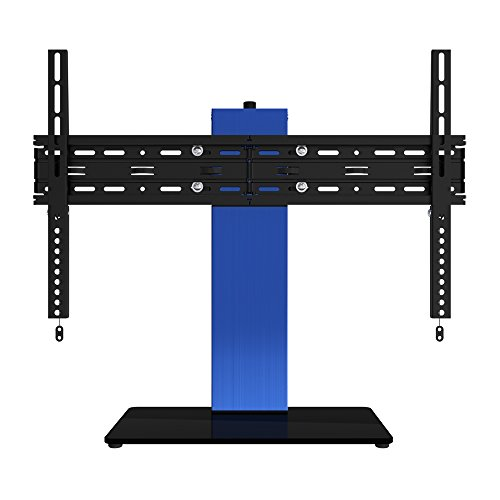 "OLLO: 30-52"" Anodized Blue Brushed Aluminum Table Top TV Stand, 77 Lb. Capacity, Tilt-5/+10�, Rotation -/+30� Anodized Blue Finish, LED, LCD, (TT-03 Blue)"
