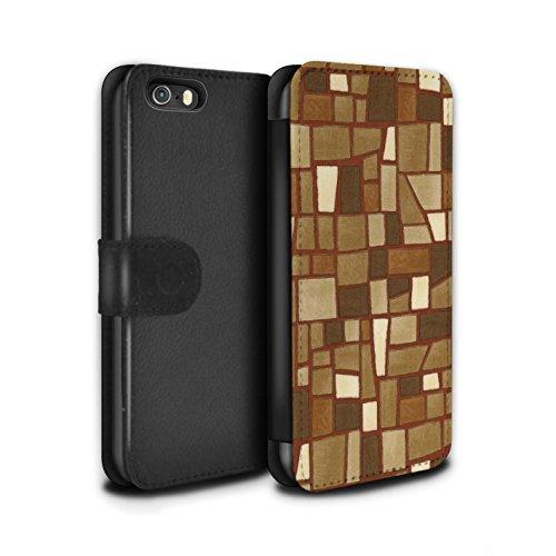 Stuff4 Coque/Etui/Housse Cuir PU Case/Cover pour Apple iPhone SE / Multipack (9 Pcs) Design / Carrelage Mosaïque Collection Brun/Blanc