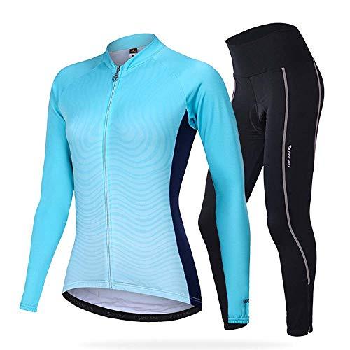 YDJGY Winter Langarm Radtrikot Set,Damen Team Thermo Fahrradbekleidung Sport MTB Anzug