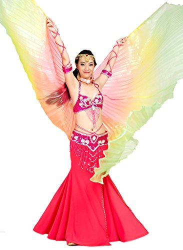 Calcifer® Marke neue Ägyptische Ägypten Belly Dance Flügel Isis Flügel Kostüm Geschenk für Big Party Weihnachten, Red&Yellow&Green