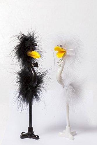 Bride & Groom Emu Strauß Vogel Fun Pen Set Schild Hochzeit Tag Empfang Gästebuch -