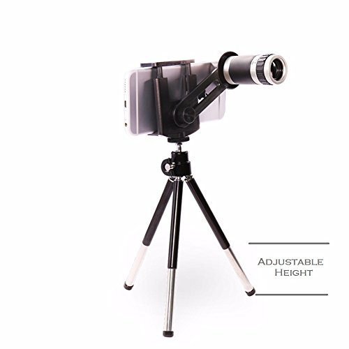 Universal 8X Zoom Lens Mobile Phone Telescope with Tripod Stand | F18 mm 9 Degree | Colour: Black & Silver