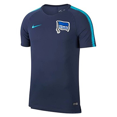 Nike Herren Hertha BSC Breathe Squad T-Shirt Navy/Chlorine Blue S