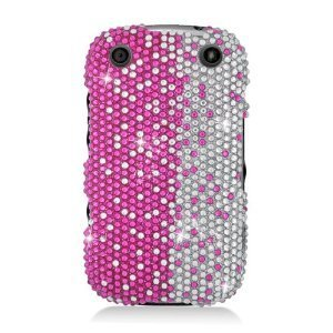 Eagle Cell RingBling Schutzhülle für BlackBerry Curve 9310, Hot Pink/Silver Divide 9320 Verizon Boost Mobile