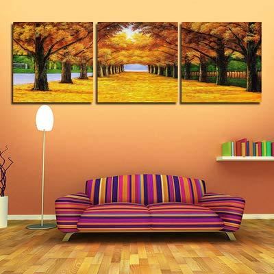 Xueyanwei Wand Kunstdrucke Auf Leinwand Goldene Blätter Malerei Auf Leinwand Korridor Wandmalereien Fallen Goldene Bäume Bild Bilder Zu Hause Hotel Büro Studie Dekoration Innen Gerahmte 3Panels