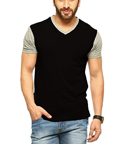 6. Tripr Men's V-Neck Tshirt Black Grey