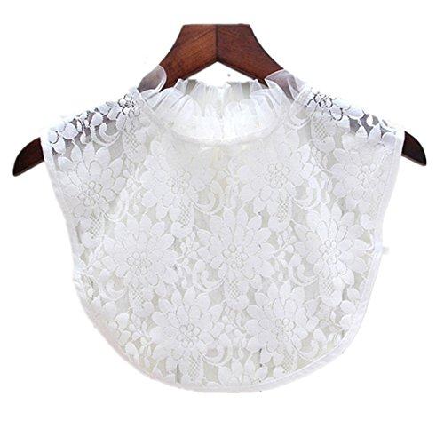 Kolylong Damen Frauen Elegant Blusenkragen mit Spitze Mode Spitze Kragen Abnehmbare Hälfte Shirt Bluse Vintage Hemd Tank Crop Top Abnehmbare Halsbänder Collars (White-A) (Vintage White-tank)