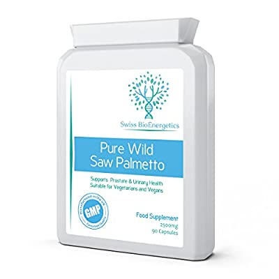 Pure Wild Saw Palmetto 2500mg 90 Capsules – exclusively produced from pure wild berries using high pressure extraction for max nutrient retention – Support for Prostate & Urinary Tract Health from Swiss BioEnergetics