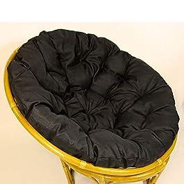 KKLTDI Noir Rond Papasan Coussin De Siège, D100cm(39.4″) Amovible Moelleux Jardin Accroché Oeuf Coussin Orthopédique pour Tatami Coussins De Chaise-Noir 100cm(39inch)