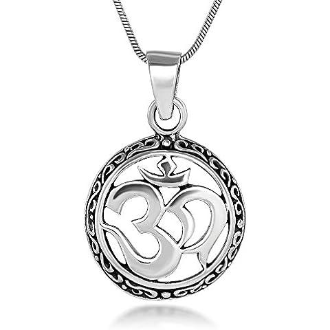Sterling Plata 21mm celta Aum Om Ohm sánscrito símbolo Yoga encanto colgante collar 18