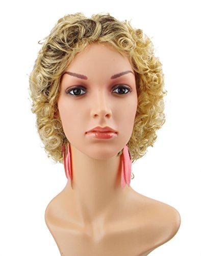 Spretty Parrucca ondulata Gorgeous Black Root Gradient Biondi breve ricci delle donne per costume cosplay