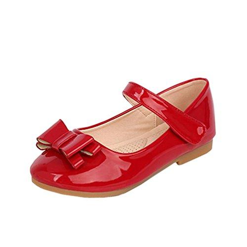 miaoshop Kinder Prinzessin Brautjungfer Schuhe Mädchen Party Kleid Komfort Tanz Bowtie Wohnung (33 / Innenlänge 21.5cm, Rot) (Kleid Wohnungen Schuhe)