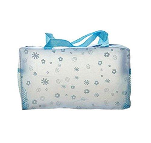 Sac Cosmétique Imperméable Transparent Imprimé Floral Poche De Bain Toilette Bleu