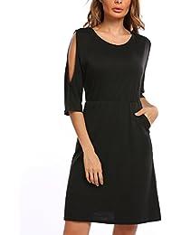 2035626ae768 Finejo Damen Kleid Kalte Schulter Minikleid mit Tasche Casual Stretch Lässig  Shirtkleid für Freizeit Partykleid…
