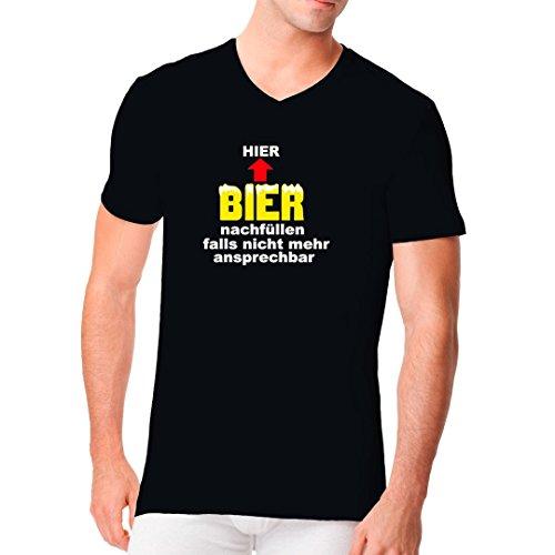 Fun Sprüche Männer V-Neck Shirt - Bier nachfüllen by Im-Shirt Schwarz