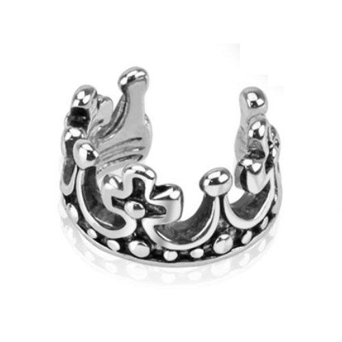 bungsa® Corona Ear Cuff orecchini Crown König (Conch Fake Piercing anello rodio argento orecchini orecchini clip orecchio gioielli orecchini placcati uomo donne donna mode)