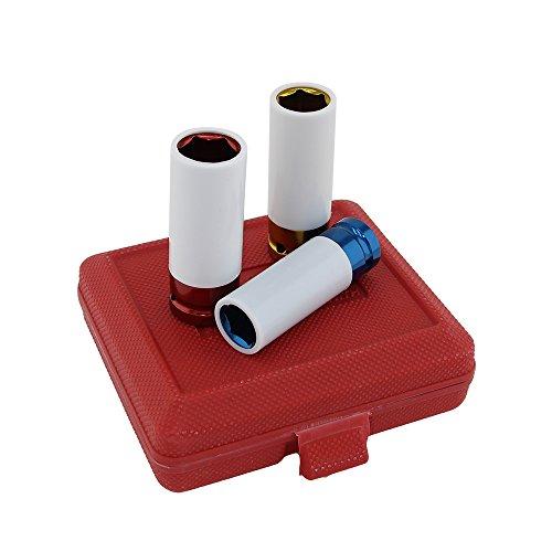 beishuo 3PCS CR-MO 1,27 cm drive17mm 19mm 21mm Leichtmetallfelge Mutterbuchsen-Set (Box Tool Rot Steel)