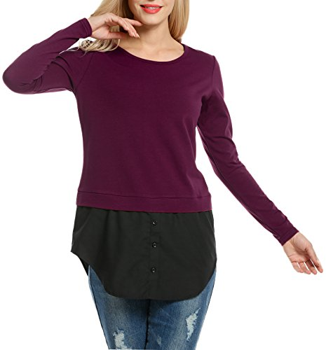 Beyove Damen Sweatshirt mit Rundhalsausschnitt Langarm Oberteile Tops Herbst/Frühling Weinrot