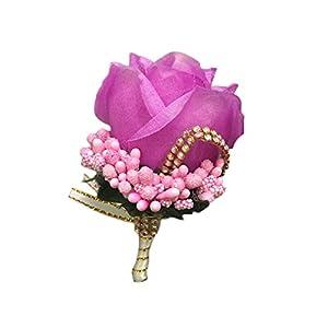 Wisilan Boutonniere – Broche de flores artificiales para hombre, diseño de ramo de novia y novio (17 colores)