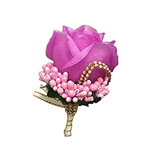 Wisilan – Broche de ramillete de flores artificiales para novio o novio, ramo de tela, ramillete para decoración de bodas, bailes, fiestas (17 colores), tela, A, 11 * 7CM