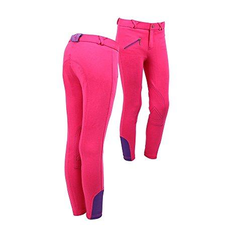netproshop Reitbekleidung Kinder und Junior Reithose Basic mit Kniebesatz, Farbe:Pink, Kindergroesse:116