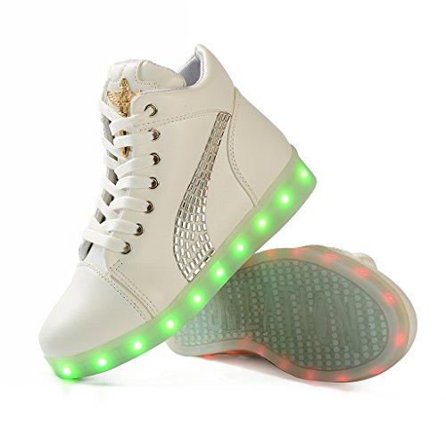 DoGeek Scarpe LED Luminosi Sneakers con Le Luci Accendono Scarpe con Luci Sportive bianca