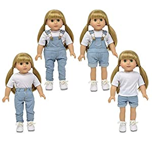The New York Doll Collection- Overol de Mezclilla para muñecas de 45 cm (Denim Claro) (D334-A)