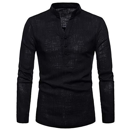 ESAILQ Herren Langarm Herbst Winter Leinen Henry Große Größe Lässige Top Bluse Shirts(X-Large,Schwarz) -