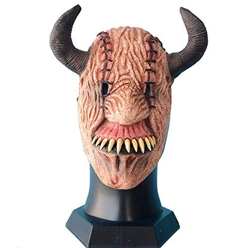 Unheimliche Teufel Kostüm - QNFNB Gelbes Gesicht Teufel Gehörnt Maske Unheimlich Kostüm Party Requisiten Halbes Gesicht Zubehörteil