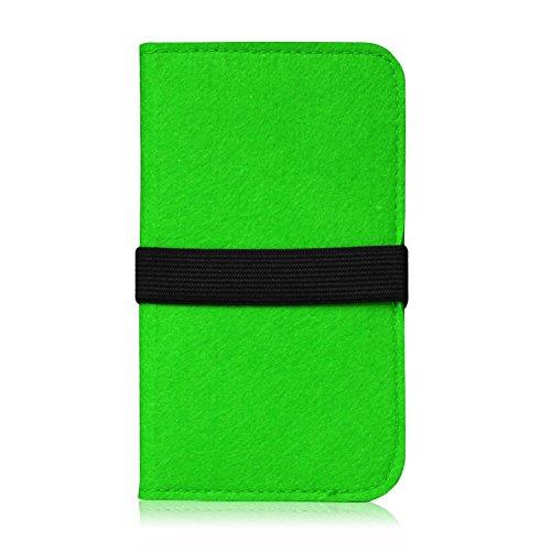 Feutre pour Smartphone Cover Étui Étui de protection à rabat en feutre avec compartiment de Carte En Différentes Couleurs avec bande de caoutchouc straffen compatible avec Apple iPhone 6S Plus/iPhone  vert