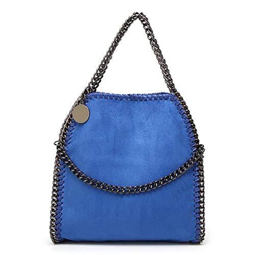 FUFUFUCHEN New Chain Single Umhängetasche Clutches Fold Over Purse Woven Kleine Damenhandtaschen Umhängetaschen,Blau -