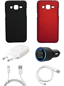 NIROSHA Cover Case Charger USB Cable for Samsung Galaxy J2 - Combo