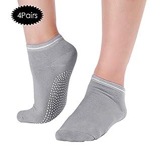 Yunhany Direct Frauen Männer rutschfeste Yoga Socken Sport Baumwolle Socken für Fitness Yoga Tanz Workout-Schwarz 4 Paare