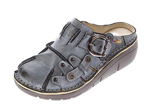 Damen Echt Leder Clogs Sabot Schuhe Slipper Pantolette Sandalen TMA 8890 Gr 36-42 Neu Grau Schwarz