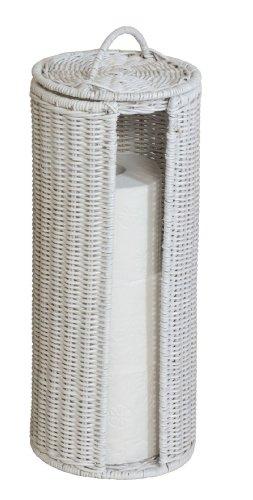 WC-Rollenhalter / Ersatzrollenhalter aus Rattan (Weiss) - Versandkostenfrei in DE