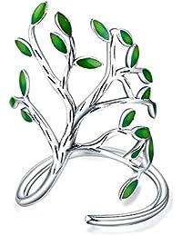 Wicemoon Elegante Anillo Abierto árbol Grande Vintage patrón Hecho a Mano Hoja de Goteo Anillo Decorado