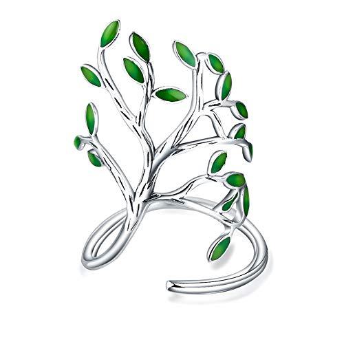 Hacoly Ajustables Anillo Hojas árbol Proceso Esmalte