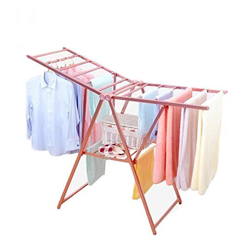 AnnGYJ Airfoil Indoor-Wäscheständer, Boden-Klappflügel Typ Edelstahl Zweischicht-Kleidung Quilt Handtuch-Trockenstange, Trockengestell Für Balkon Im Freien, Pink -