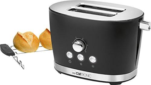 Clatronic TA 3690 2-Scheiben-Toaster mit Brötchenaufsatz, Krümelschublade, Auftaufunktion, Aufwärmfunktion, Schnellstoppfunktion, Schwarz