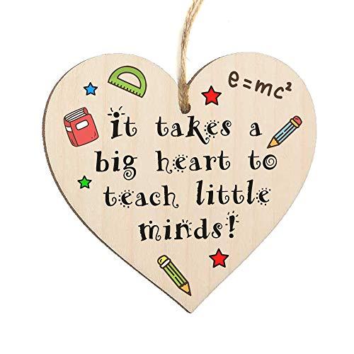 zschild für Lehrer, englische Aufschrift It Takes A Big Heart to Teach Little Minds, hängend, herzförmig, mit Geschenkverpackung, Holz, 10 cm ()