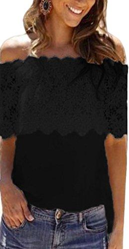 Bigood Chemisier Femme Mousseline de Soie Dentele T-shirt Bustier Manches Courtes Epaule Nue Top Blouse Noir