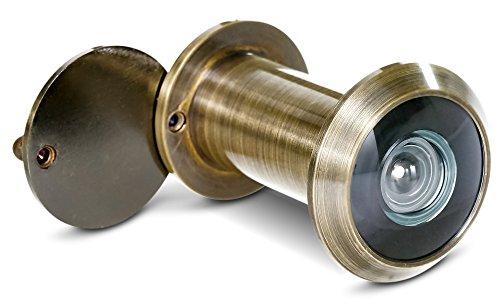 Ø Antike (Stoppwerk Türspion 200° Weitwinkel mit Sichtschutz - Messing/Antik - Bohrloch Ø 16mm - Spion für 35-55mm Türblätter - Hochwertige Echtglaslinse)