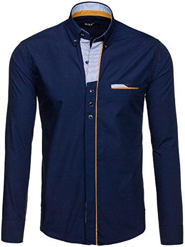 BOLF – Chemise casual – avec manches longues – Slim fit – BOLF 6956 – Homme Bleu foncé