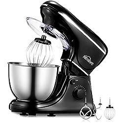 Robot Pâtissier Kealive Robot Cuisine Multifonctions, Robot de Cuisine 1200W avec 8 Vitesses et Fonction D'impulsion, Bol en Acier Inoxydable 304 avec Batteur Crochet Fouet et Pieds Antidérapants