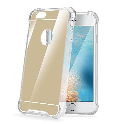 Celly Armor Mirror Handy Hartschale mit Rückseite mit Spiegel und Rahmen Transparent Gummi für iPhone 7Plus gold