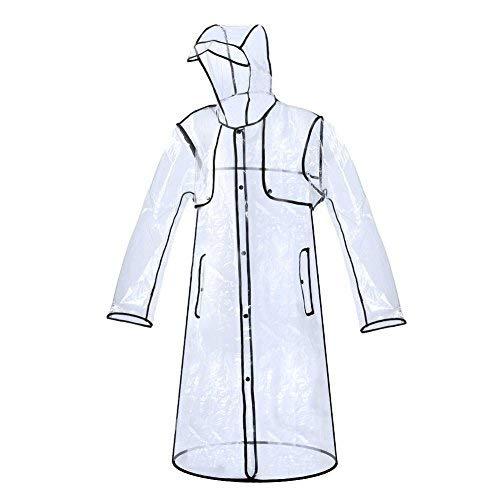 Zicac Regenjacke Transparent Mode Damen Regenmantel Raincoat Wasserdichte Poncho Regenbekleidung mit Kapuze