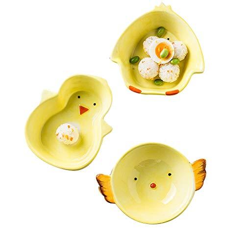 Bol à fruits en céramique pour enfants - Set de 3, bol de dessin animé Mini bol à la maison Binaural mignon, vaisselle de table pour enfants