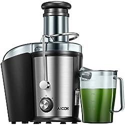 Centrifugeuse Aicok Extracteur de Jus, 800W Centrifugeuse Fruits et Legumes avec 75MM Large Bouche, en acier inoxydable à deux vitesses avec une bouche anti-goutte, Pieds antidérapants, Sans BPA