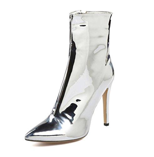 NVXIE Damen Knöchel Stiefel Sexy Mode Stiletto Hoch Ferse Schuhe Spitz Silber Patent Leder Frühling Herbst Winter, EUR 41/UK 7.5-8