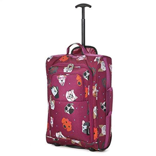 5 Cities Cabin Handgepack Leicht Trolley Taschen 42L (1 Stück, Taschen und Schuhe - Schwarz) Dotty Hunde Himbeere